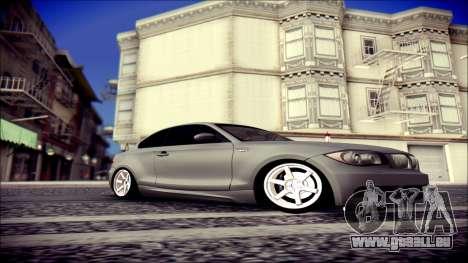 BMW 135i pour GTA San Andreas sur la vue arrière gauche