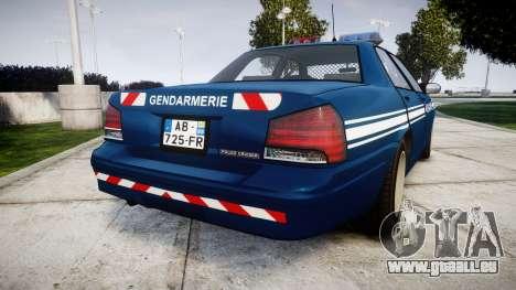 GTA V Vapid Police Cruiser Gendarmerie1 pour GTA 4 Vue arrière de la gauche