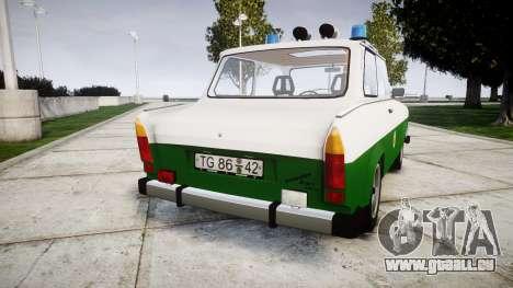 Trabant 601 deluxe 1981 Police für GTA 4 hinten links Ansicht