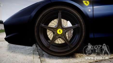 Ferrari 458 Italia 2010 v3.0 Slipknot pour GTA 4 Vue arrière