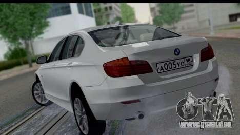 BMW 535i F10 pour GTA San Andreas laissé vue