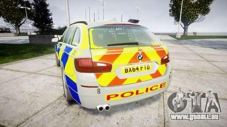 BMW 525d F11 2014 Police [ELS] pour GTA 4 Vue arrière de la gauche