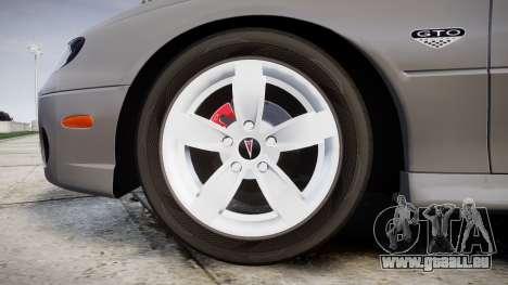 Pontiac GTO 2006 17in wheels pour GTA 4 Vue arrière
