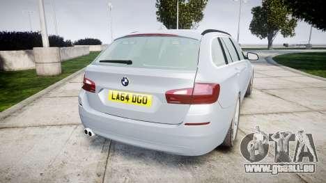 BMW 525d F11 2014 Facelift [ELS] Unmarked pour GTA 4 Vue arrière de la gauche