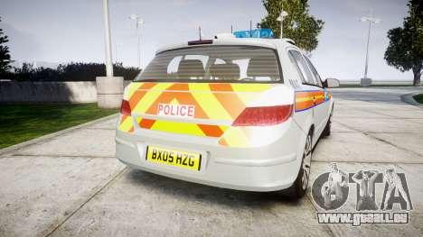 Vauxhall Astra 2005 Police [ELS] Britax pour GTA 4 Vue arrière de la gauche