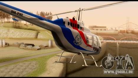 Malaysian Polis Helicopter Eurocopter Squirrel pour GTA San Andreas sur la vue arrière gauche