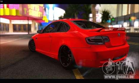 BMW M3 GTS 2010 pour GTA San Andreas vue de dessus