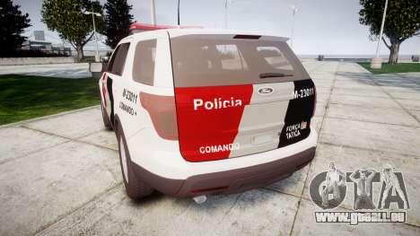 Ford Explorer 2013 Police Forca Tatica [ELS] pour GTA 4 Vue arrière de la gauche