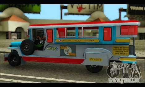 Jeepney Legacy für GTA San Andreas Rückansicht