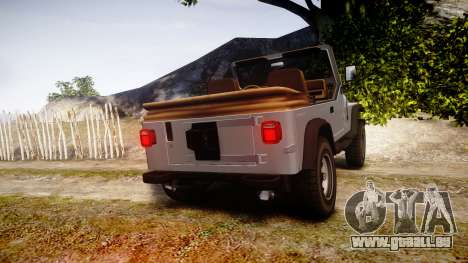 Jeep Wrangler 1988 pour GTA 4 Vue arrière de la gauche