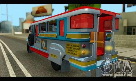 Jeepney Legacy pour GTA San Andreas vue de droite