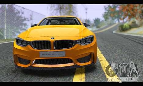 BMW M4 F80 Coupe 1.0 2014 pour GTA San Andreas sur la vue arrière gauche