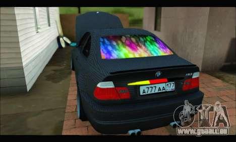 BMW M3 E46 Carbon pour GTA San Andreas sur la vue arrière gauche