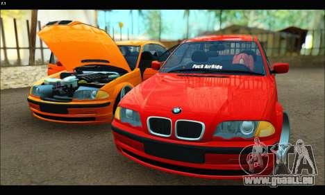 BMW e46 Sedan pour GTA San Andreas vue de côté