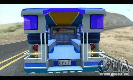 Light Jeepney für GTA San Andreas Rückansicht