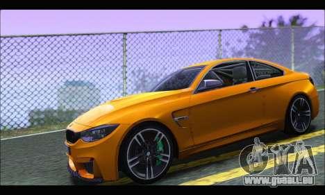 BMW M4 F80 Coupe 1.0 2014 pour GTA San Andreas laissé vue