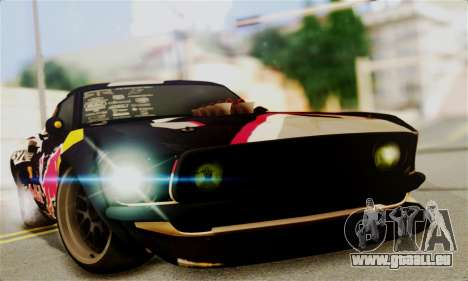 Ford Mustang RTR RedBull für GTA San Andreas zurück linke Ansicht