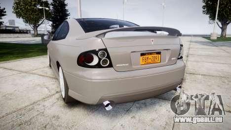 Pontiac GTO 2006 17in wheels pour GTA 4 Vue arrière de la gauche
