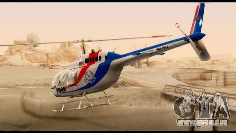 Malaysian Polis Helicopter Eurocopter Squirrel pour GTA San Andreas laissé vue