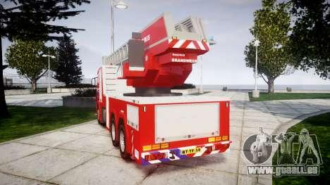 Scania R580 Dutch Fireladder [ELS] pour GTA 4 Vue arrière de la gauche