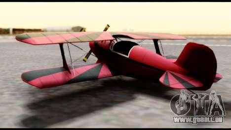 Beta Stuntplane pour GTA San Andreas sur la vue arrière gauche
