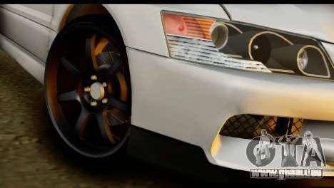 Mitsubishi Lancer Evo IX pour GTA San Andreas sur la vue arrière gauche