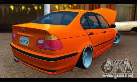 BMW e46 Sedan pour GTA San Andreas sur la vue arrière gauche