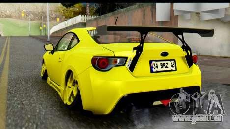 Subaru BRZ 2013 pour GTA San Andreas laissé vue