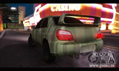 Subaru Impreza WRX Camo für GTA San Andreas zurück linke Ansicht