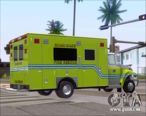 Pierce Commercial Miami Dade Fire Rescue 12 pour GTA San Andreas sur la vue arrière gauche