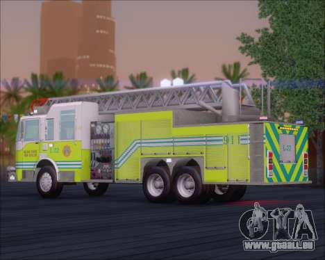 Pierce Arrow XT Miami Dade FD Ladder 22 für GTA San Andreas zurück linke Ansicht