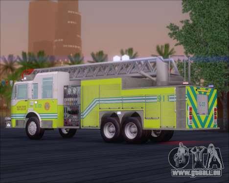 Pierce Arrow XT Miami Dade FD Ladder 22 pour GTA San Andreas sur la vue arrière gauche