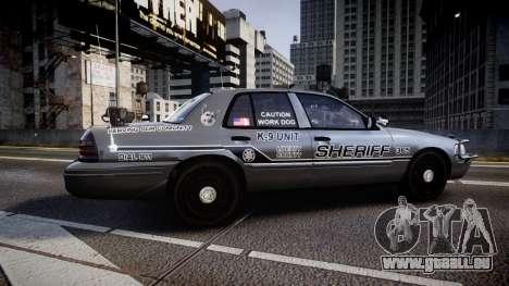 Ford Crown Victoria Sheriff K-9 Unit [ELS] pushe pour GTA 4 est une gauche
