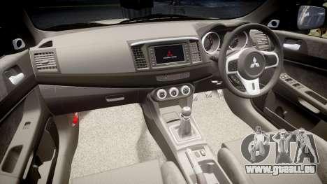 Mitsubishi Lancer Evolution X FQ400 pour GTA 4 est un côté