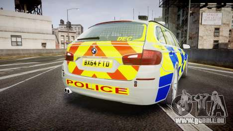 BMW 525d F11 2014 Metropolitan Police [ELS] pour GTA 4 Vue arrière de la gauche
