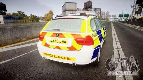 BMW 325d E91 2009 Sussex Police [ELS] pour GTA 4 Vue arrière de la gauche