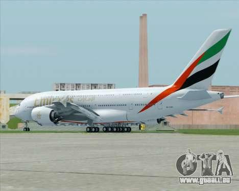 Airbus A380-800 Emirates (A6-EDH) pour GTA San Andreas sur la vue arrière gauche