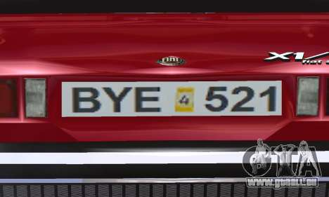 Fiat Bertone X1 9 pour GTA San Andreas vue de côté