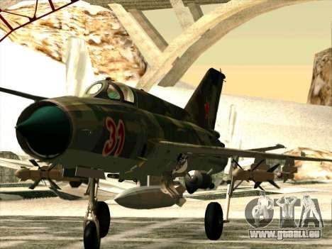 MiG 21 der sowjetischen Luftwaffe für GTA San Andreas linke Ansicht