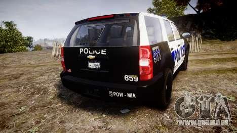 Chevrolet Tahoe 2010 Police Algonquin [ELS] pour GTA 4 Vue arrière de la gauche