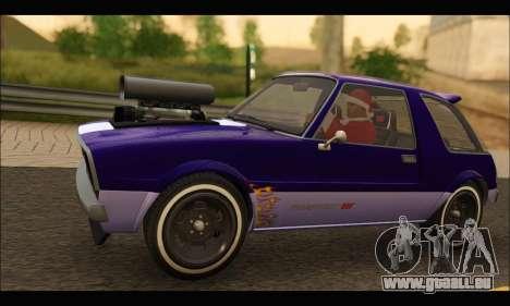 Declasse Rhapsody v2 (Fixed Extra) (GTA V) pour GTA San Andreas sur la vue arrière gauche