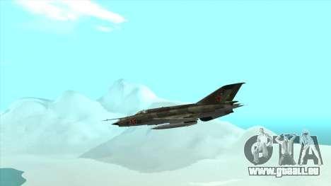 MiG 21 der sowjetischen Luftwaffe für GTA San Andreas Innenansicht