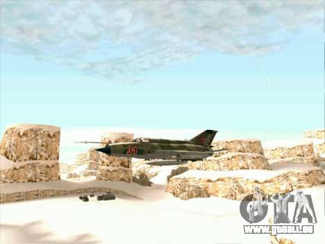 MiG 21 der sowjetischen Luftwaffe für GTA San Andreas zurück linke Ansicht