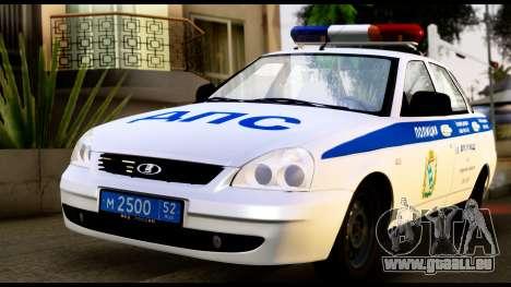 VAZ 2170 LA POLICE DE LA CIRCULATION pour GTA San Andreas laissé vue