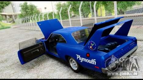 Plymouth Roadrunner Superbird RM23 1970 HQLM für GTA San Andreas Innenansicht