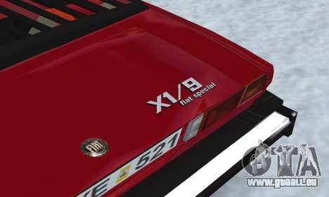 Fiat Bertone X1 9 pour GTA San Andreas vue intérieure