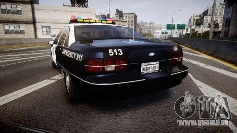 Chevrolet Caprice 1990 LCPD [ELS] Traffic für GTA 4 hinten links Ansicht