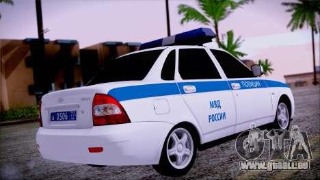 Lada Priora 2170 de la police de la MIA de Russi pour GTA San Andreas laissé vue