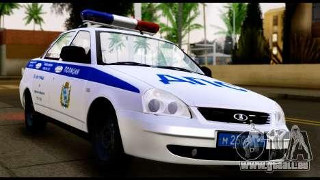 VAZ 2170 LA POLICE DE LA CIRCULATION pour GTA San Andreas sur la vue arrière gauche