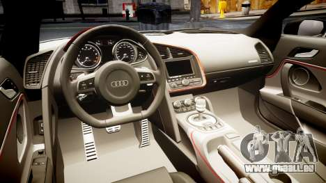 Audi R8 E-Tron 2014 dual tone pour GTA 4 est une vue de l'intérieur